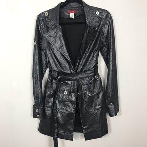 EUC Ceres Black Shimmery Metallic Trench Coat